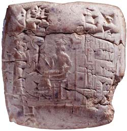 Ancient Cuneiform tablet containing business transaction records